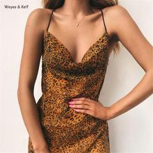 Fashion Leopard V-neck Cross Strap Sexy Mini Dress Women 2019 Print Bodycon Backless Woman