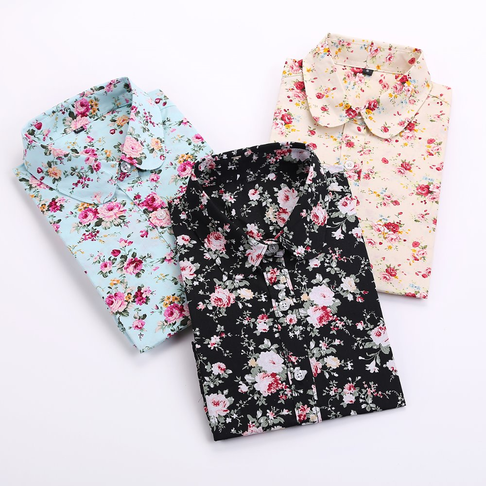 Aliexpress.com : Buy Dioufond Vintage Floral Blouses Women Cotton ...