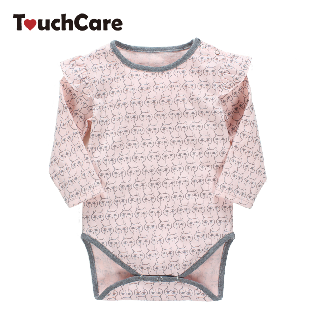 Infant Cute Cartoon Cats Printed Baby Boy Girl Rompers Long Sleeve Soft Cotton Kids Jumpsuit Flouncing O-neck Toddler Clothes newborn cotton cute white with loving heart baby rompers long sleeve soft colorful toddler baby boy girl clothes kids jumpsuit