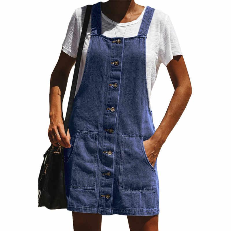 bde4ff6915f Spring Summer Cute Retro 1960s Denim Overall Dress for Women Kawaii Ladies  Suspender Pinafore Jumper Dresses