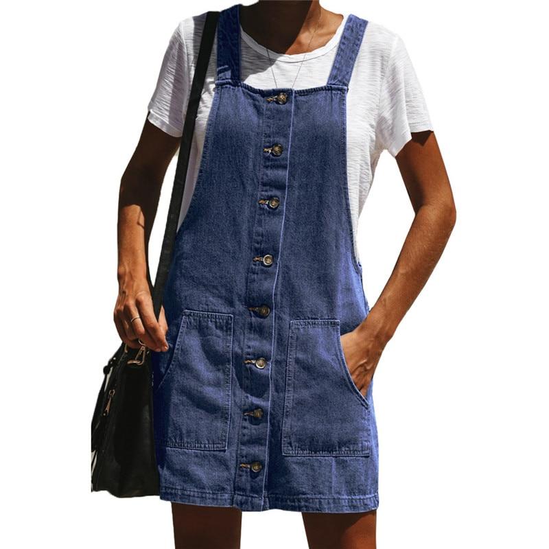 77b02480b9 Spring Summer Cute Retro 1960s Denim Overall Dress for Women Kawaii Ladies  Suspender Pinafore Jumper Dresses Plus Size S-XL