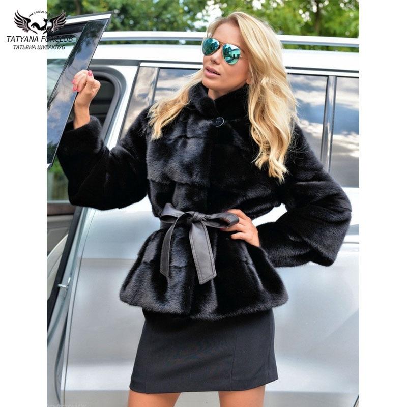 Tatyana Furclub Mink Fur Coat Short Type Real Fur Coat Women Detachable Sleeves High Fashion Fur Jackets Winter New Warm Fur