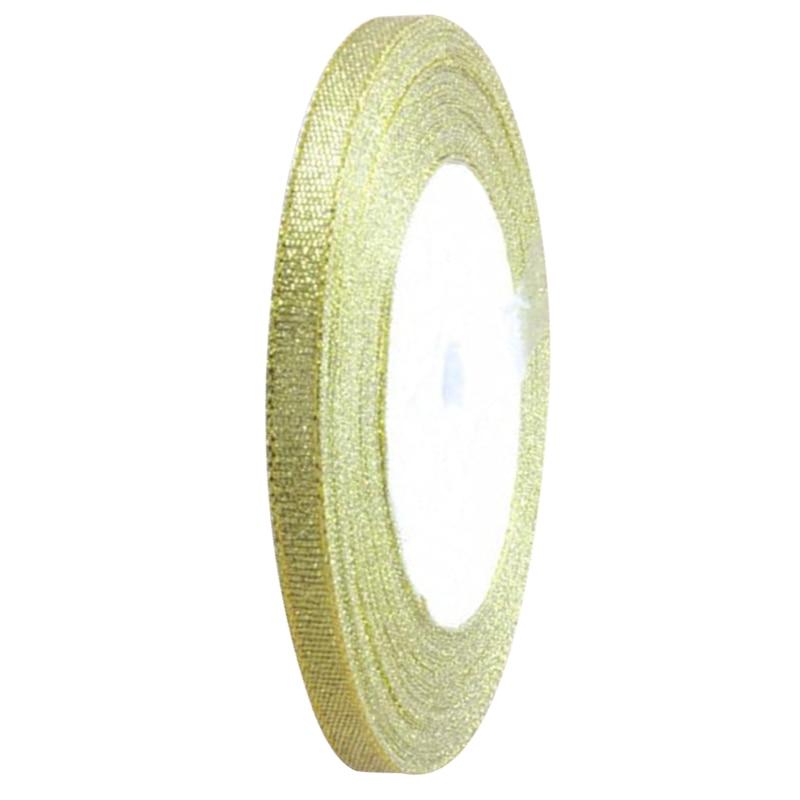 1 рулон шелковые, атласные ленты для Свадебная вечеринка Ширина 6 мм длиной 25 ярдов около 22 м золотой
