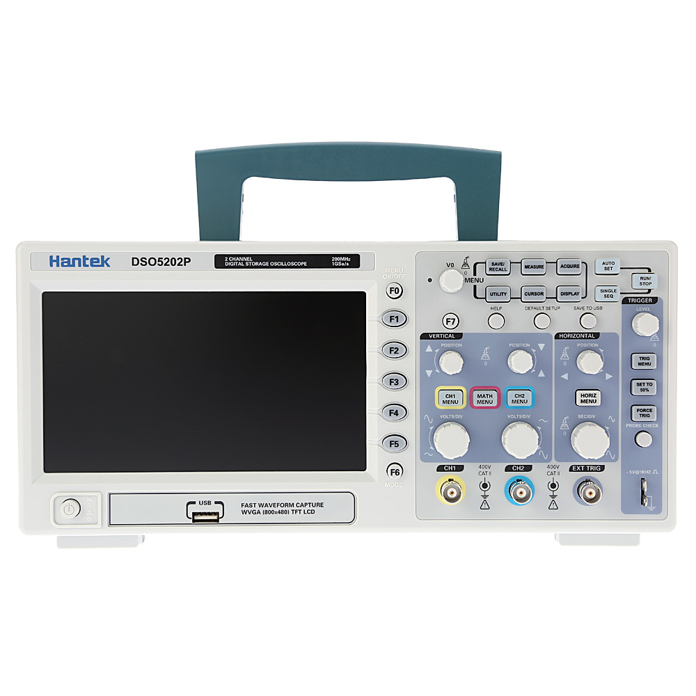 Hantek DSO5202P Digital Oscilloscope 200MHz 2 Channels 1GSa/s 7'' TFT LCD Record Length 40K USB AC110-220V Desktop oscilloscope hantek dso5202p digital oscilloscope 200mhz bandwidth 2 channels pc usb lcd portable osciloscopio portatil electrical tools