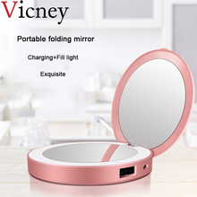 2019 Portable Folding LED Charging Treasure Makeup Mirror With Light Portable Charging Makeup Fill Light Gift Small Mirror недорого