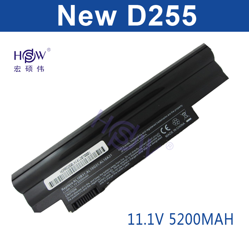 HSW 5200mAh LAPTOP battery for Acer Aspire One 522 D255 722 AOD255 AOD260 D255E D257 D257E D260 D270 AL10A31 AL10B31 AL10G31 original new al12b32 laptop battery for acer aspire one 725 756 v5 171 b113 b113m al12x32 al12a31 al12b31 al12b32 2500mah