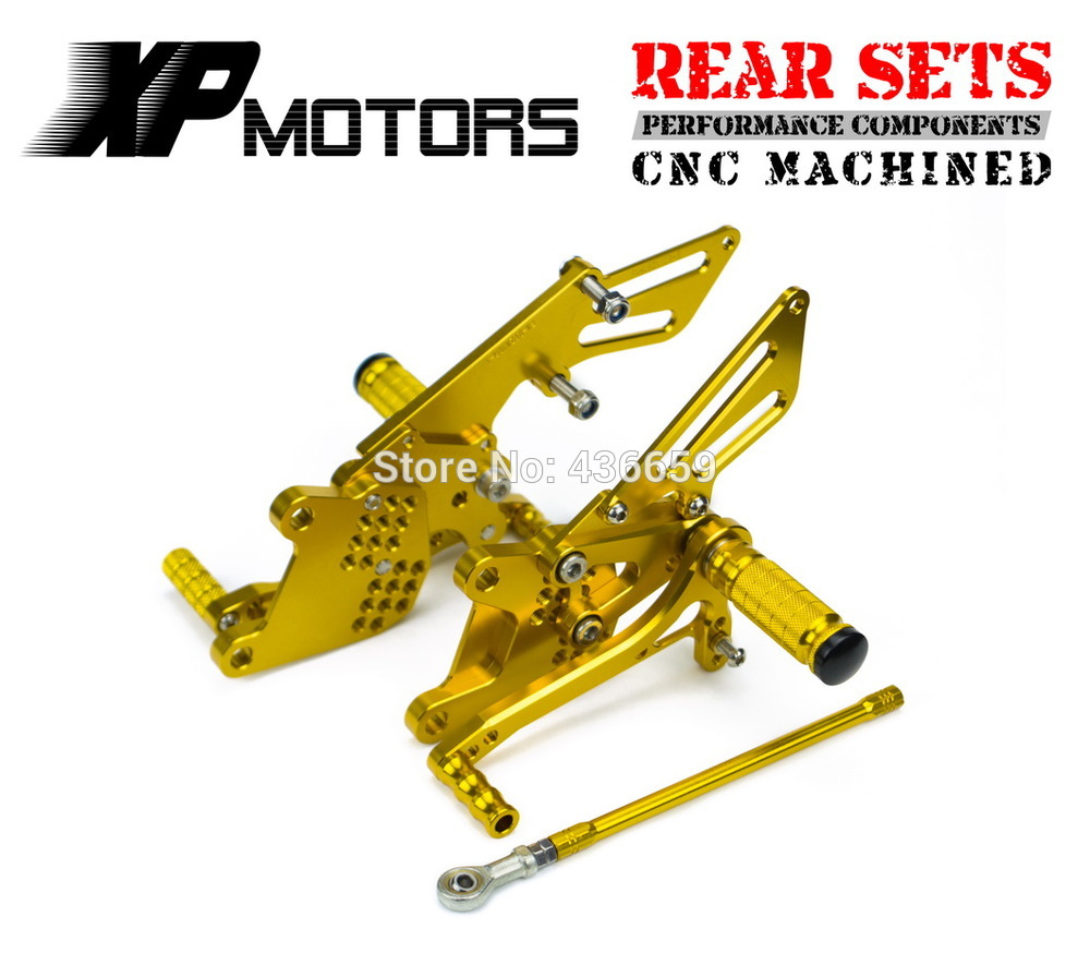 цены  Gold Adjustable CNC Billet Race Rear Sets Rearset For Kawasaki Ninja ZX-10R ZX1000 2006 2007 2008 2009 2010