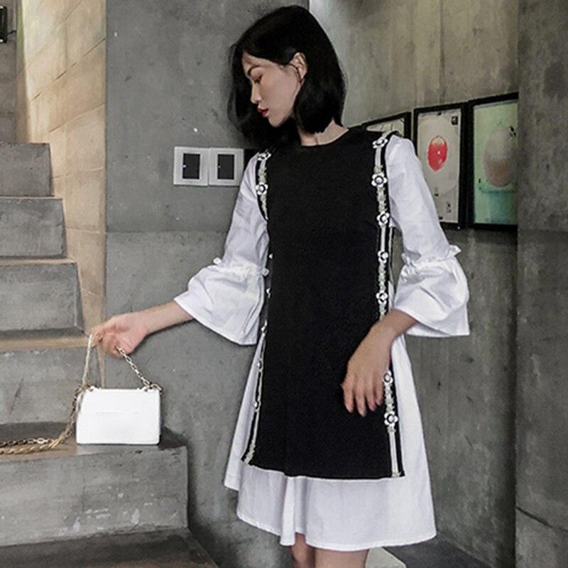 Manches Nouveau Femme Pièces Deux Flare De Mode Sans Twotwinstyle Automne 2018 O Robe Coréenne Gilet Cou Femmes Ensemble Set Pour Les Black 4wxS8gq