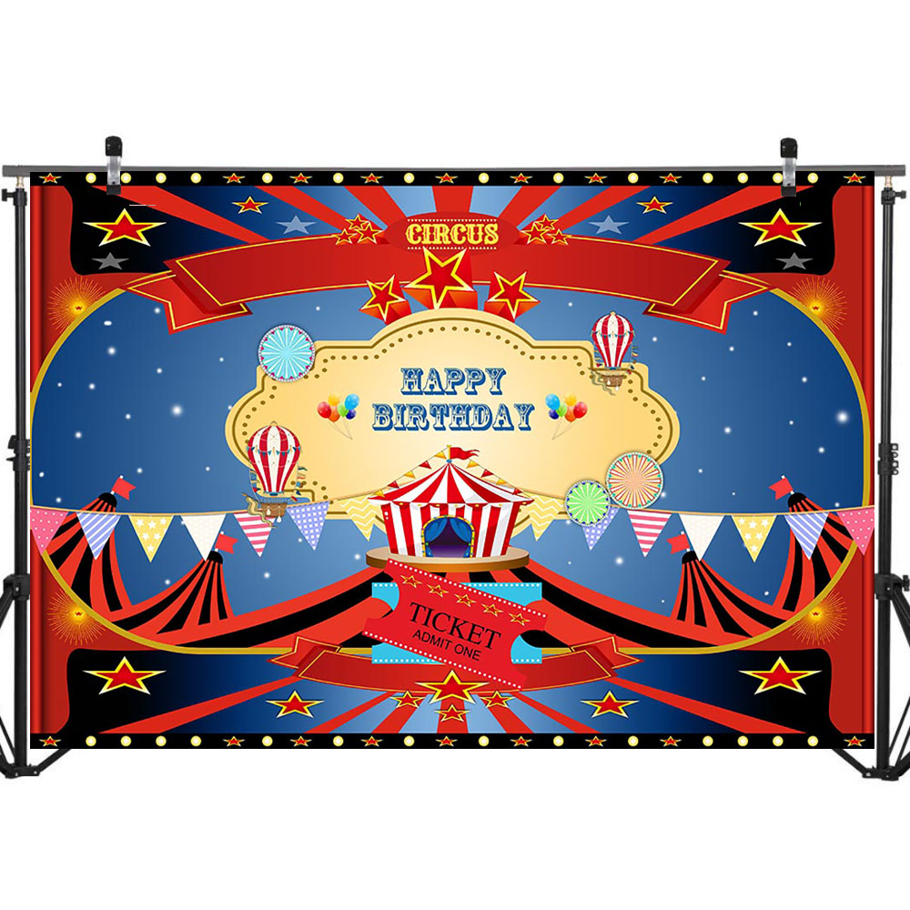 NeoBack Circus Party Theme Backdrop Tent Colorful Banners Hot Air Balloon Background Happy Birthday Photography Backdrops in Background from Consumer Electronics