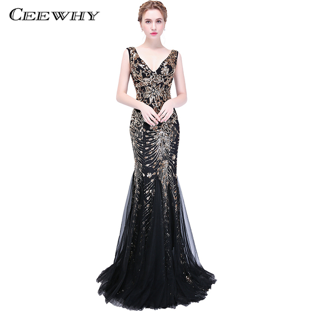 CEEWHY V-Neck Evening Dresses Long 2018 Evening Dress Sequinated Mermaid Evening Gown Prom Dresses Robe de Soiree Longue 2018