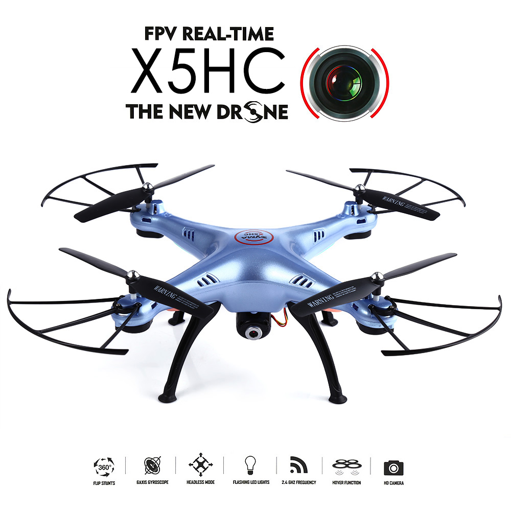X5HC 2.4GHz 4CH 6-axis Gyro RC Drone With 2.0MP HD Camera 360 Eversion CF Mode Hover Function RC Quadcopter