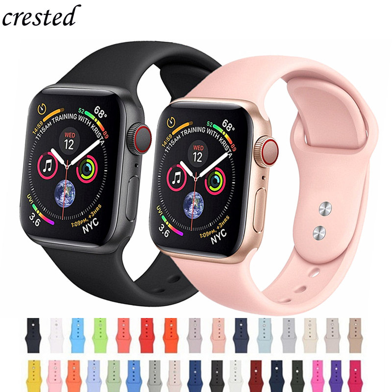 Silicone Strap for Apple watch band 4/3 42mm 44mm iWatch band 38mm 40mm Sport Bracelet watchband belt correa watch Accessories Silicone Strap for Apple watch band 4/3 42mm 44mm iWatch band 38mm 40mm Sport Bracelet watchband belt correa watch Accessories
