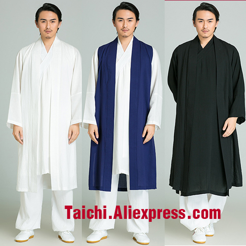 Surplice Handmade Linen Tai Chi Uniform Wushu, Kung Fu,martial Art Suit,three Pieces,jacket+pants+long Vest,white,black,blue wudang male handmade linen tai chi uniform wushu kung fu shaolin training suit chinese stly jacket pants