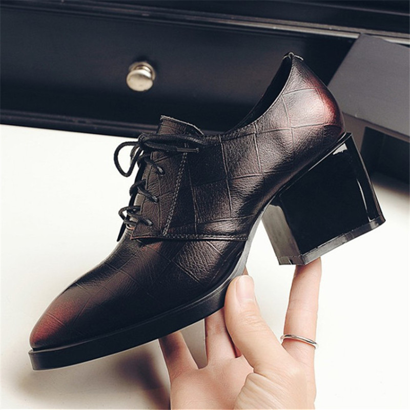 Plus Size 34-43 New fashion High heeled women shoes Embossed Cow Genuine Leather Pointed Toe Pumps Strange Style oxfords shoes new 2017 spring summer women shoes pointed toe high quality brand fashion womens flats ladies plus size 41 sweet flock t179