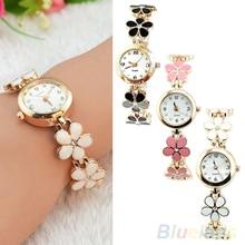 New! Hot Sales 2015 Hot-sale  Korean Women Girl Fashion Daisies Flower Rose Golden Bracelet Wrist Watch