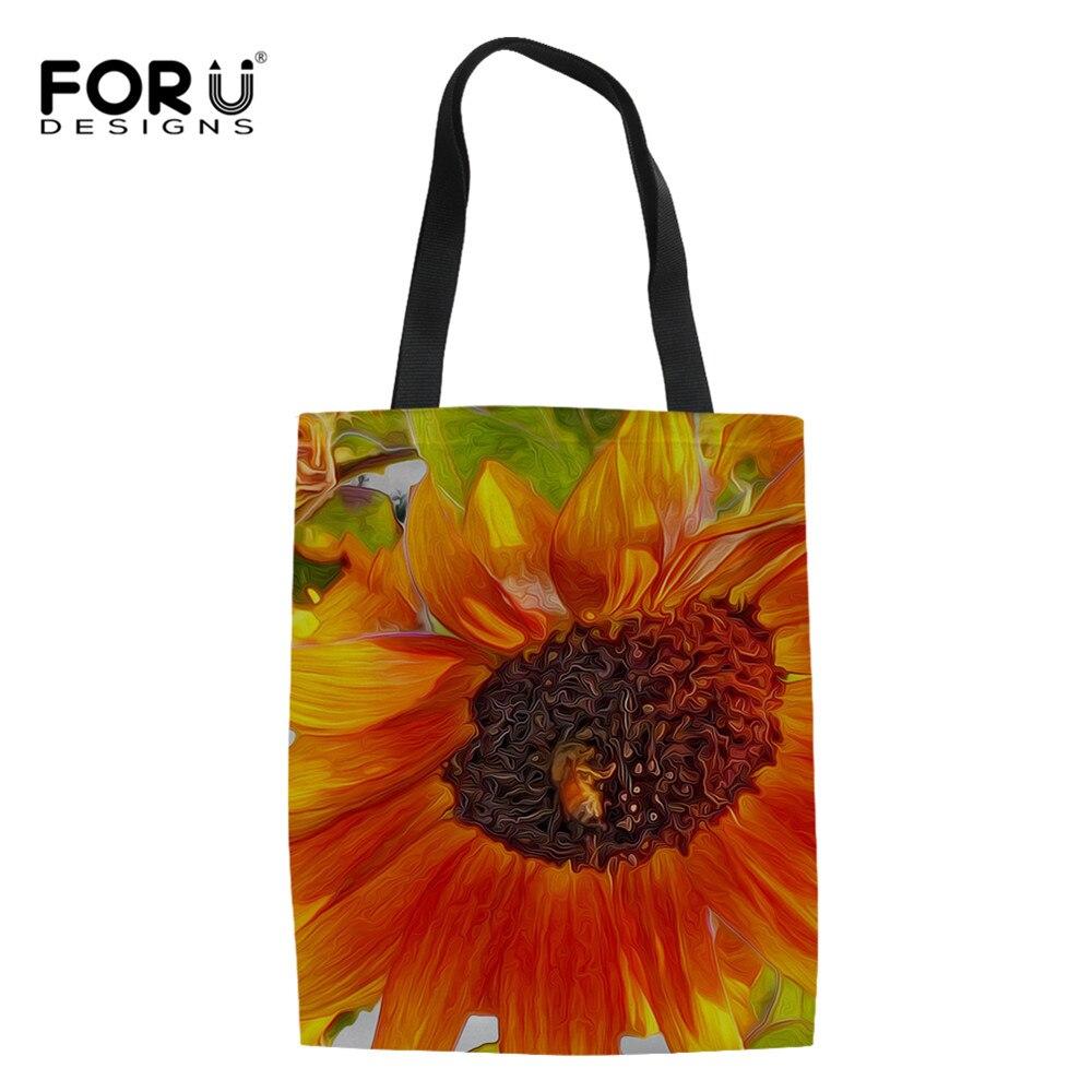 3D Sunflower Pattern Shopper Bags Reusable Canvas Ladies Tote Shoulder Bags Eco Shopping Handbags Bags