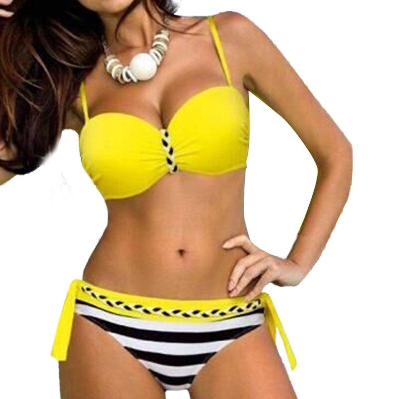 2017 New Bikinis Women Sexy Swimsuit Push Up Bikini Set Bordered Plus Size Swimwear Brazilian Bathing Suit Bandage Swimwear new 2016 bikinis plus size swimwear women padded push up bikini 3xl 5xl plus size sexy swimsuits with skirt bathing suit