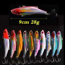 Купить с кэшбэком Colorful Vib Baits with sea hooks Laser Painting Fishing Lures Carp Baits isca artificial para pesca crankbait 8.9cm/28g