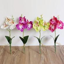 3 cabeças 25cm diy artificial borboleta orquídea flor flores de seda para um casamento grandes flores falsas para decoração de casa casamento