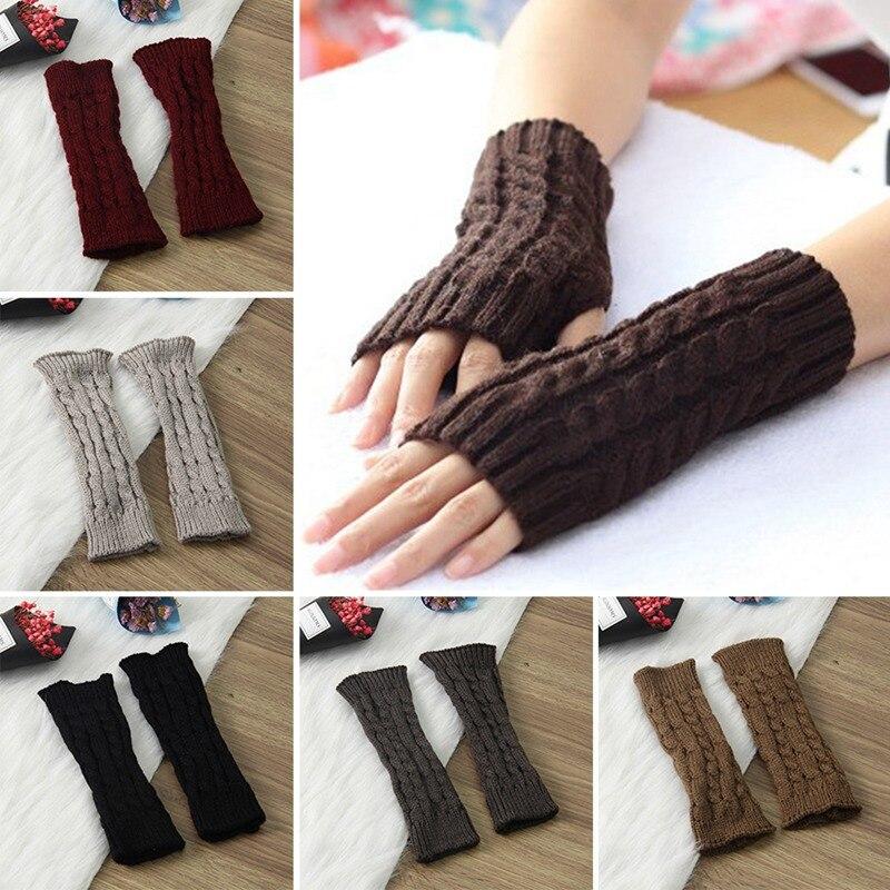 Bekleidung Zubehör Handschuh-fingerlose Stricken Twist Winter Warme Weiche Mode Wärmer Dame Handschuhe Praktische Casual Handschuhe Lange Arm Frauen Herbst