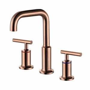 Rose Glod Basin Faucet Set Dou