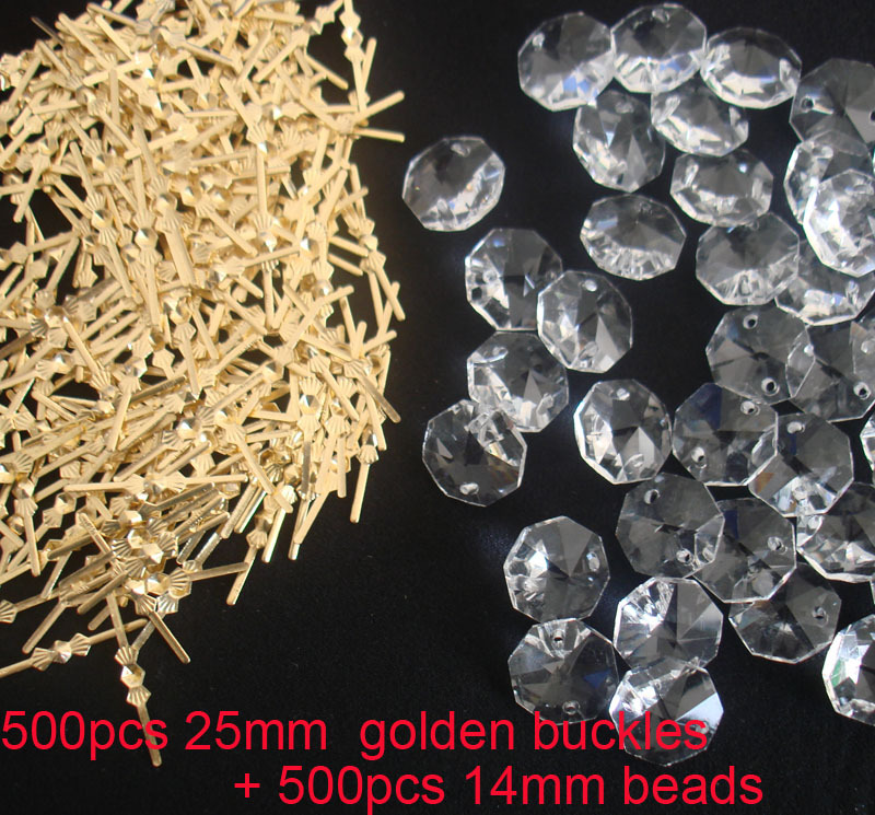 500PCS lot 14mm crystal octagon beads in 2 holes 500pcs golden buckles connectors for wedding strands