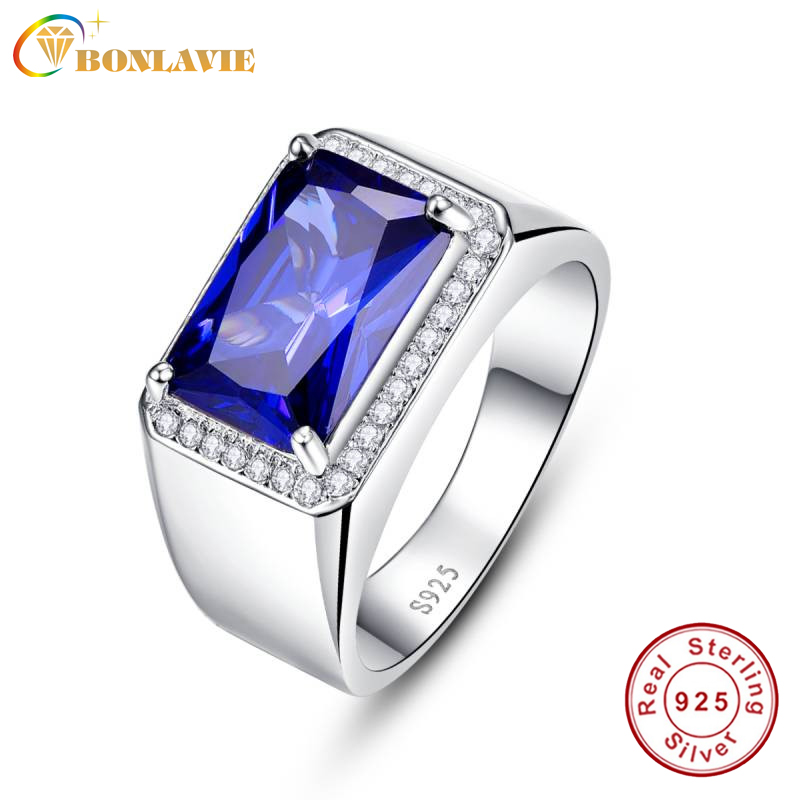 BONLAVIE Emerald Design Charm Luxury 7ct Blue Sapphire Square Ring Solid 925 Sterling Silver Ring Fine Jewelry Party Accessories