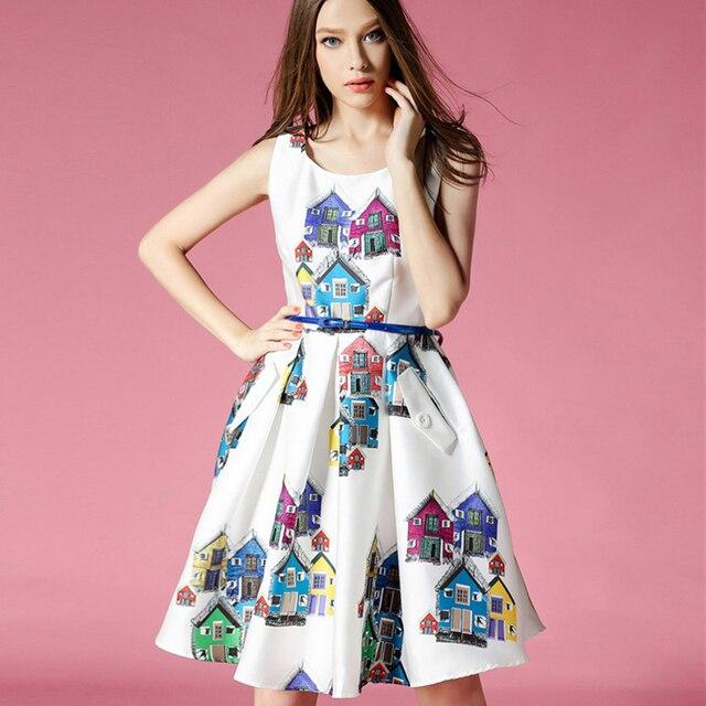 2015 New fashion summer style women cute house print dress ...