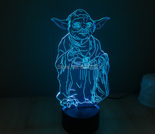 Free Shipping 1 Piece 3D led Mood Lamp Bulb Lighting Star Wars Master Yoda LED little Dimmable Night Light holiday light