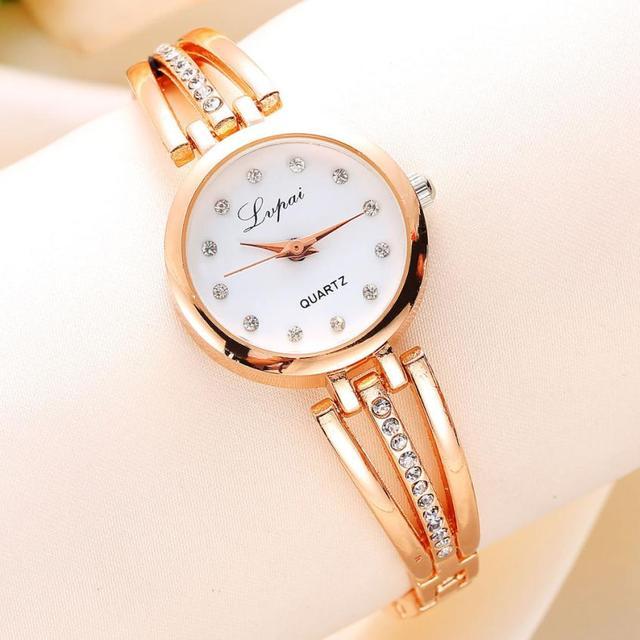 Fashion Ladies Women Unisex Stainless Steel Rhinestone Quartz Wrist Watch Rose G