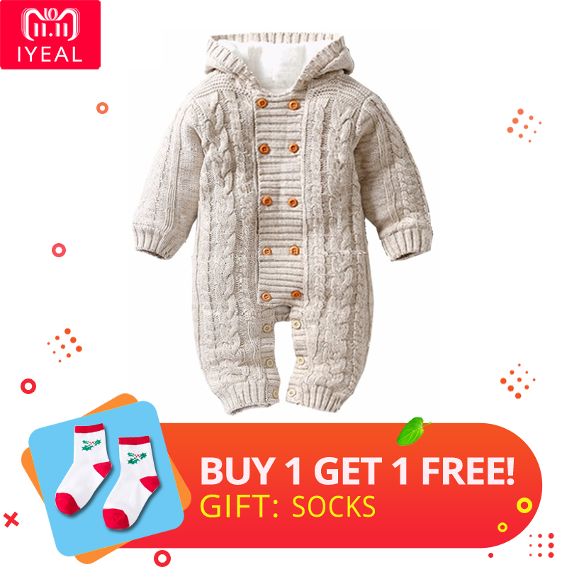 IYEAL Thick Warm Infant Baby Rompers Winter Clothes Newborn Baby Boy Girl Knitted Sweater Jumpsuit Hooded Kid Toddler Outerwear unisex baby rompers newborn baby clothes boy girls winter jumpsuit hooded toddler outerwear christmas clothing deer costume
