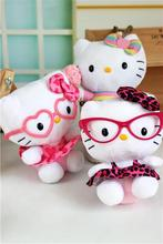 HELLO KITTY  Doll  Plush Toys Girls Gift Toy Store Kawaii Wear Skirts Glasses Sit Leopard KT Cat