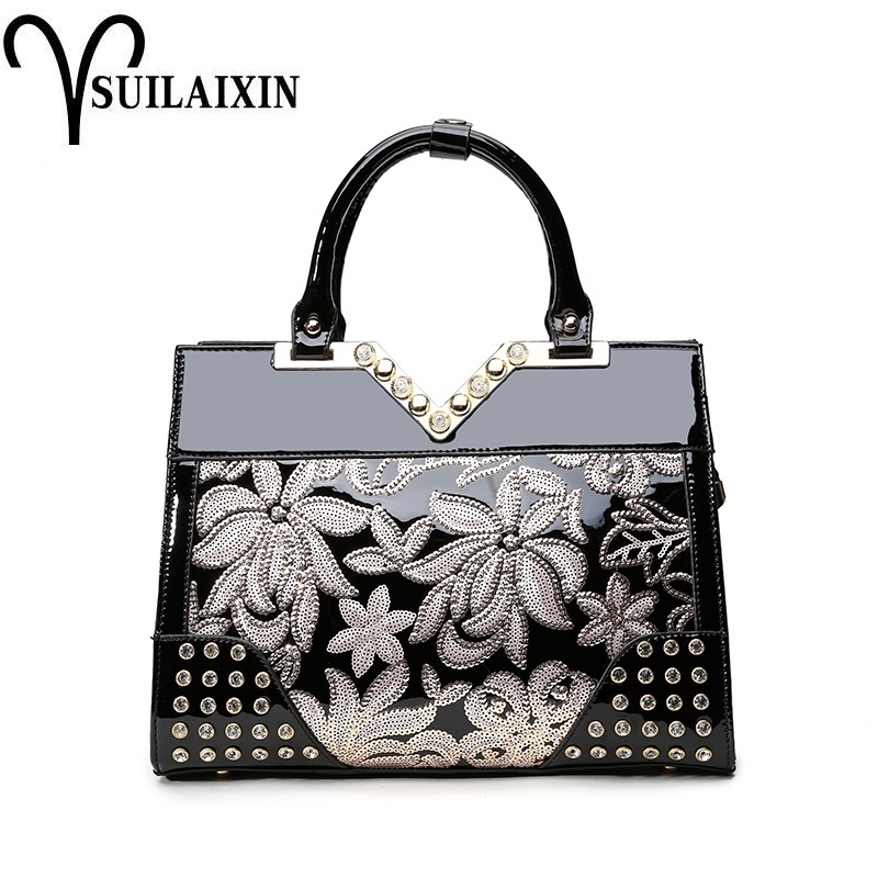 New 2018 Europe Fashion Women Bag Sequined Embroidery Luxury Patent Leather famous Brands Designer Handbags Women Messenger Bags luxury women bag new 2017 europe fashion sequin embroidery patent leather famous brands designer handbag women messenger bags