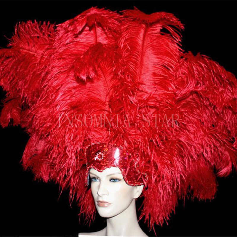 100pcs big pole 100% natural Ostrich Feather 20-80CM/8-32Inch dyed red for party mask headdress clothing accessories