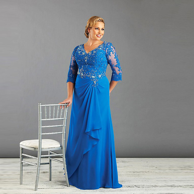 bb7d2e64c78 Blue Plus Size Mother Of The Bride Dress With Sleeve Chiffon Women Formal  Dress Mom Gown Custom Made 10 12 14 16 18 20 22 24 26