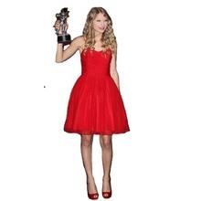 Live-Show Falten süße Falten Einfache roten Kleid Partei Abend Short Abendkleid Celebrity Kleider Vestidos Homecoming Kleid