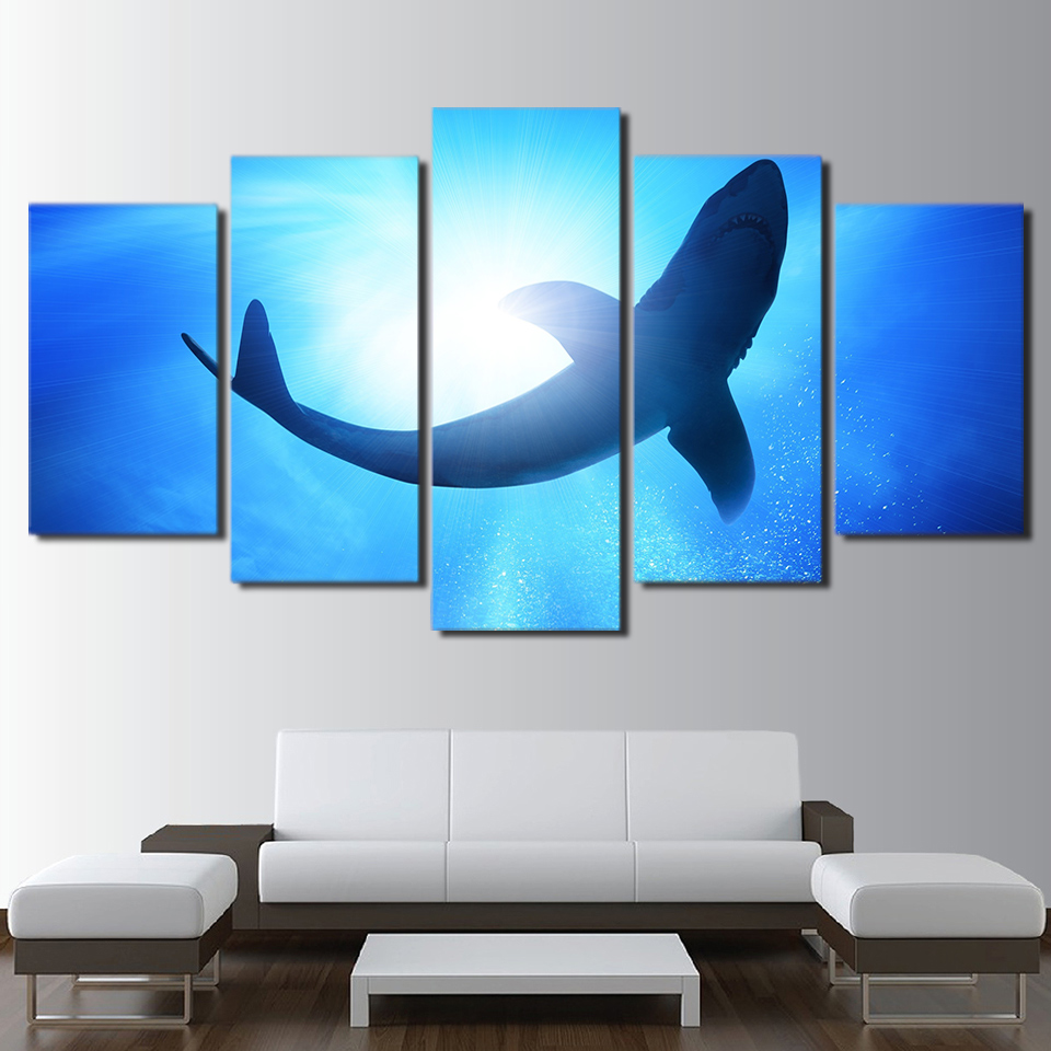 5 Panels Big Shark Painting Deep Blue Sea Ocean Modern Home Decorative Wall  Posters For Living