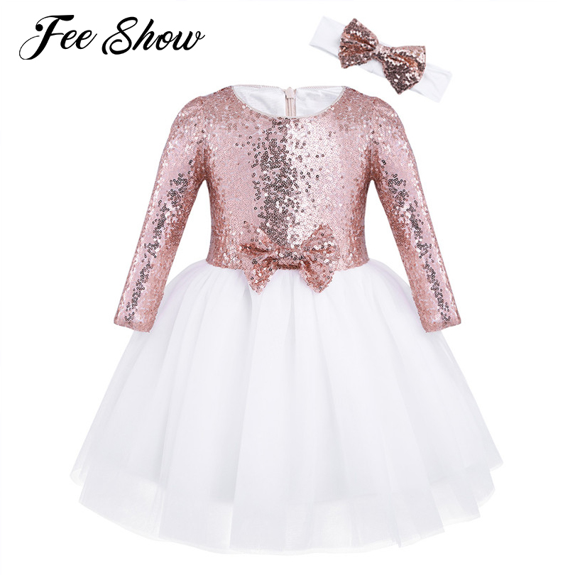 цена New Kid Girls Mesh Sequined Long Sleeves Flower Girl Dress Princess Pageant Wedding Birthday Party Dress with Headband SZ 12 M-8