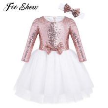 350b27adc Nuevo niño Niñas malla sequined manga larga flor Girl vestido del cumpleaños  de la princesa Pageant vestido de fiesta con la ven.