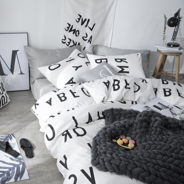 Bed Sheet Duvet Cover Boys Bedding Sets Cotton Bedclothes Duvet Queen Cover  Nordic Bed Linen Letter Print Duvet Cover Bedding