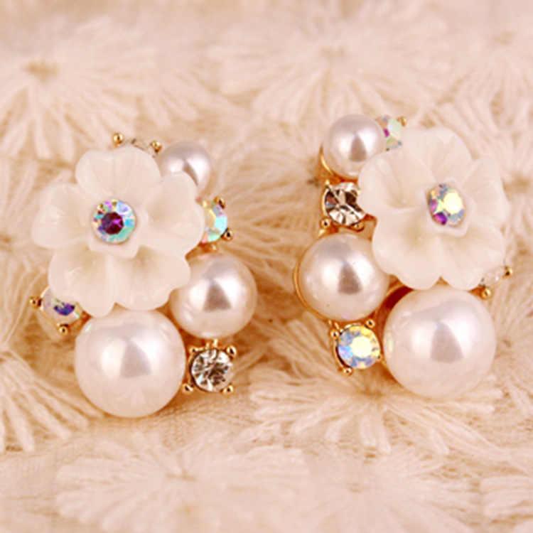 Đáng yêu Đầy Màu Sắc Rhinestone Vàng Tăng Ngọc Trai Pha Lê Stud Earrings đối với Phụ Nữ Đồ Trang Sức Cổ Điển Phụ Kiện Cho Cô Gái