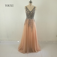 Robe De Soiree Real Photos Tulle Crystal Peach Color Party Occasion Formal Long Evening Dress 2017
