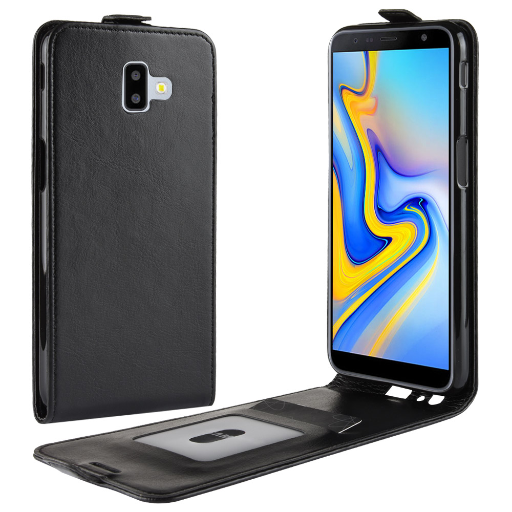 J6-Prime Case for Samsung Galaxy J6+ J6 Prime Down Open Style Cases Flip Leather Thick Solid Card Slot Cover Black SM J6Prime
