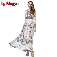 Classic Autumn Winter Runway Designer Dress Women S Long Sleeve Gauze Retro Noble Floral Embroidery Long