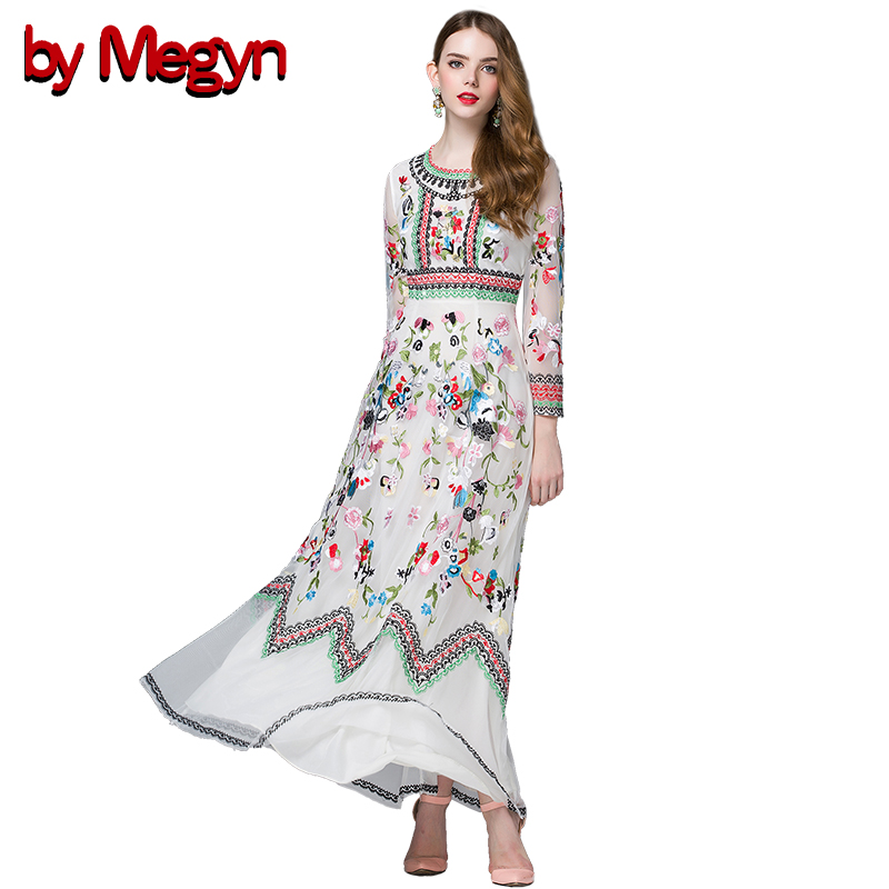 Spring summer Designer maxi Dress Women Long Sleeve Gauze Exquisite Retro Noble Floral Embroidery Dress Vestidos high quality