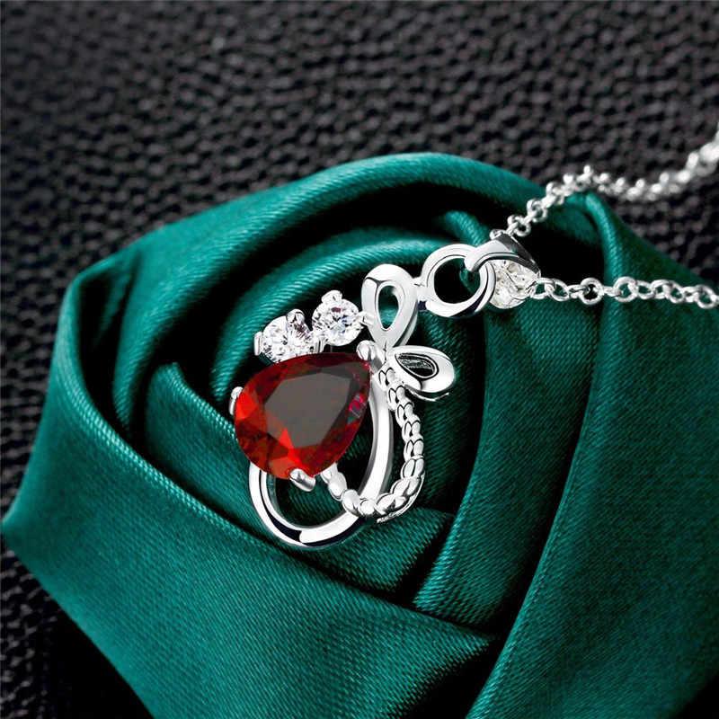 สามสีBule/สีแดง/สีขาวผูกโบว์นิ้วหัวแม่มือจี้สร้อยคอสำหรับผู้หญิงเครื่องประดับอุปกรณ์จัดงานแต่งงาน02