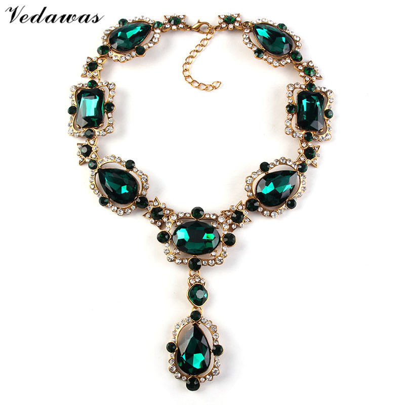 Vedawas Luxury Womens Fashion Jewelry Crystal Collar Pendant Choker Necklace Rhinestone Beads Statement Necklace XG1415 bows rhinestone velvet choker necklace