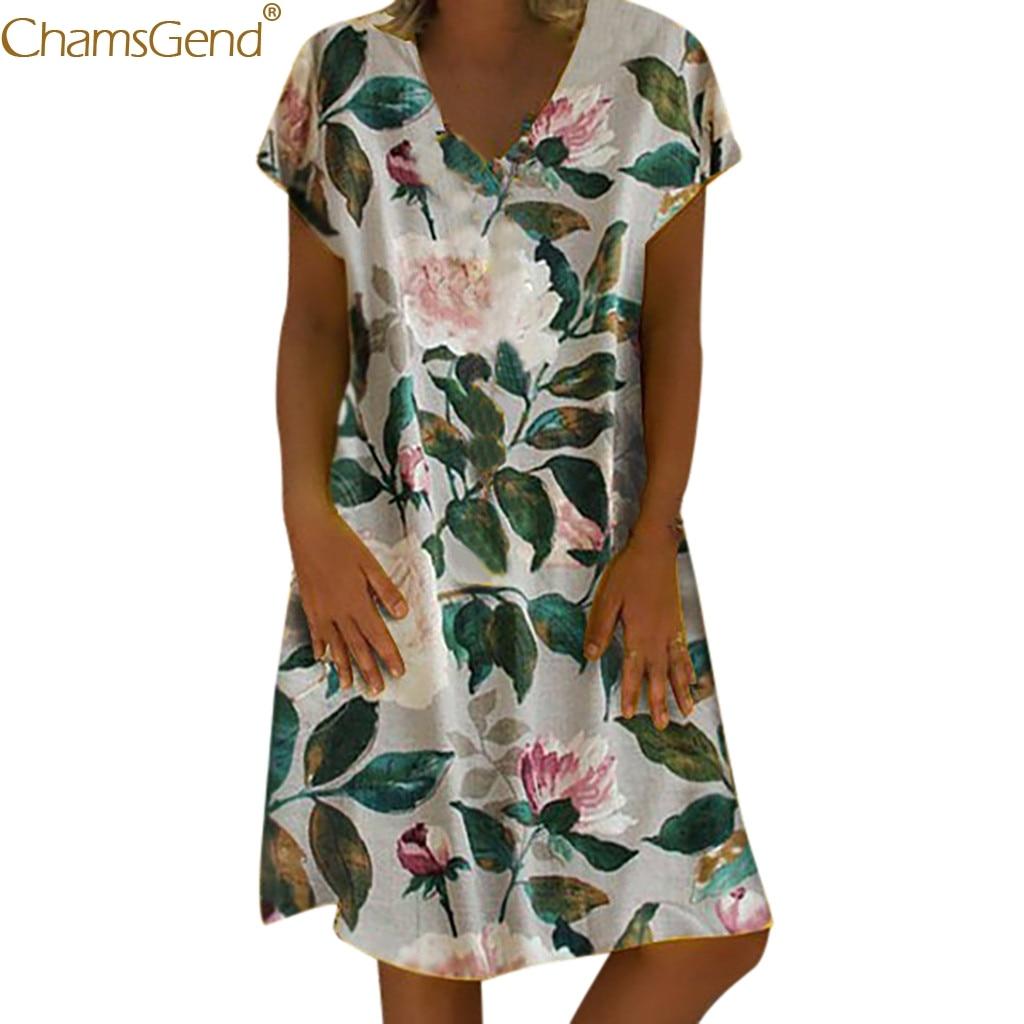 Vintage summer dresses women 2019 summer dresses casual beach Summer Floral Print V-Neck Short Sleeve Mini Dress Mar