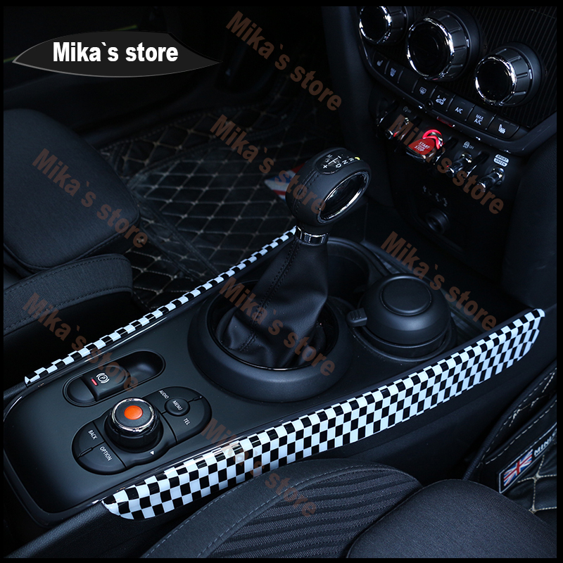 Купить с кэшбэком New 2pcs Car Gear Shift panel ABS Stickers For Mini Cooper F60 F54 Car-styling Accessories gear shift both side decoration panel