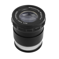 Cylindrical Adjustable Portable Pocket Magnifier Optical Glass Lens Magnifying Glass with Scale and 8 LED Light 10x Loupe